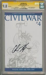 Civil War #4 Michael Turner Retail Sketch Variant CGC 9.8 Signature Series Signed Chris Hemsworth Marvel comic book Mark Millar